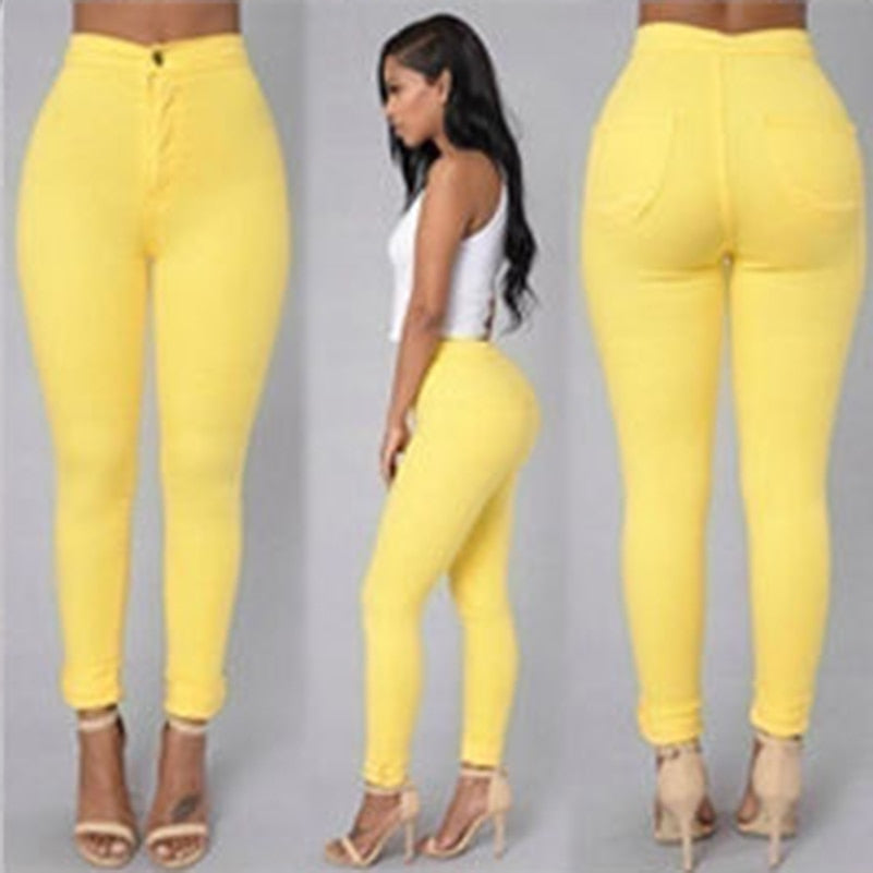 2018 Solid Wash Skinny Jeans Woman High Waist NEW Denim Push Up 2018 Pencil Pants - GTG