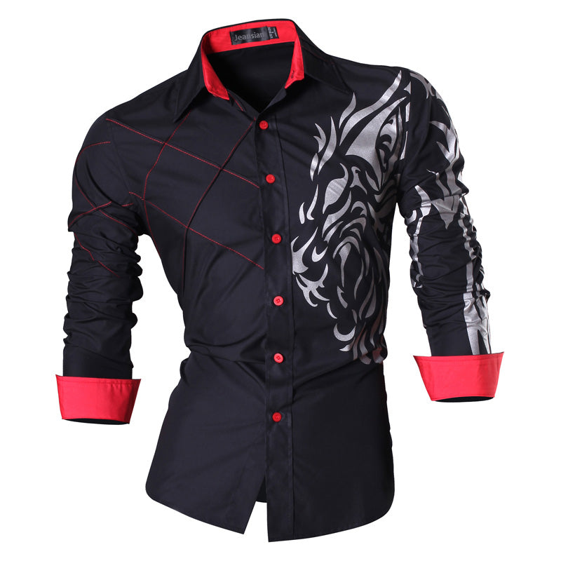 2018 Spring Autumn Features Shirts Men Casual Jeans Long Sleeve Slim Fit - GTG