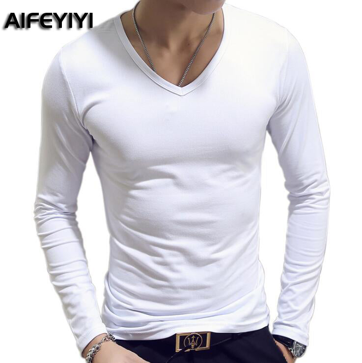 2018 Spring and Autumn Period Army fan men's t-shirt long-sleeved Slim V-collar shirt - GTG