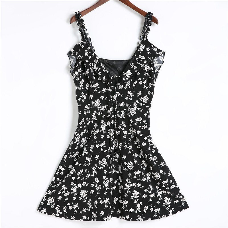 2018 Summer Floral Print Women Dress Ruffle Strap Tied V Neck Beach Dress Black Sexy Backless Short Mini Dress Plus Size Zevrez - GTG