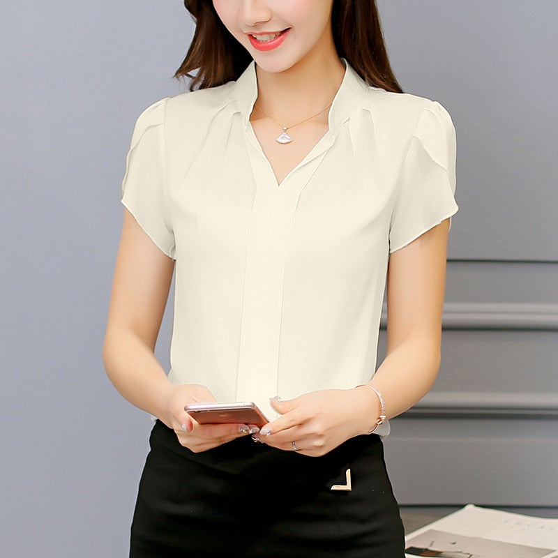 2018 Shirt Short Sleeve Elegant Ladies Formal Office Blouse Plus Size - GTG