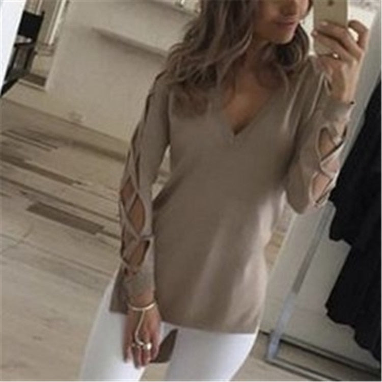 2018 Women's Fashion Shirts Sexy V-Neck Long Sleeve Hem Blouse Hollow - GTG