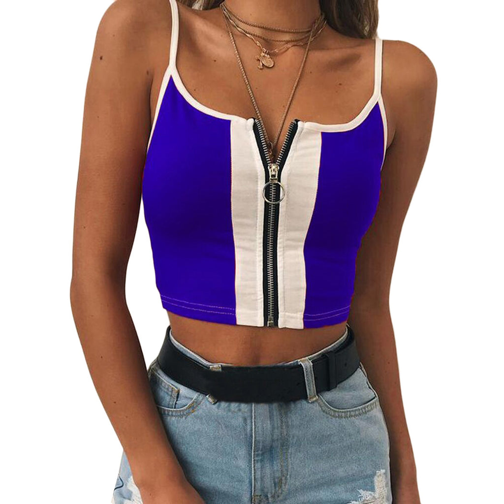 2018 Womens Summer Sexy Crop Tank Tops Sleeveless Patchwork Vest Shirts Ladies Slim Ft Zipper Cropped Tops Camisa Feminina - GTG