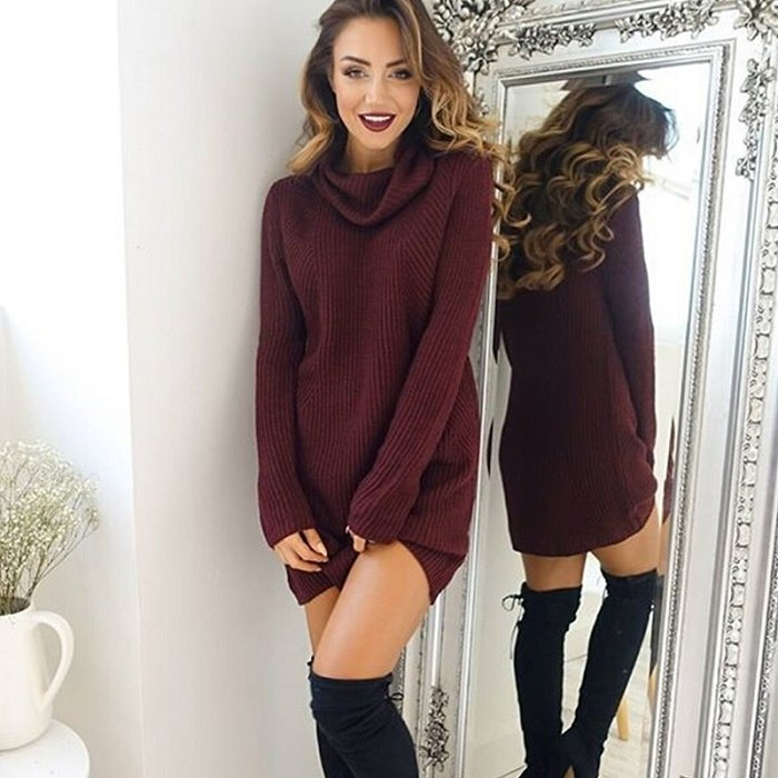 2018 chifave Brand Autumn Sweater for Women Plus Size Warm Turtleneck Sexy Solid Pullover Female New Fashion Ladies Long Sweater - GTG