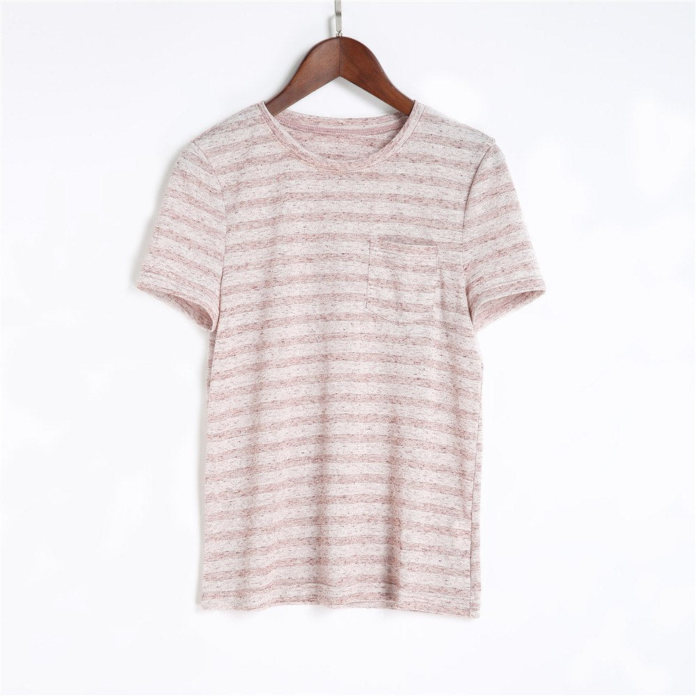 2018 chifave O-Neck Striped Cotton Tee New Fashion Short Sleeve Pocket T-Shirt Soft Elegant Slim Striped Top Women Summer Casual - GTG