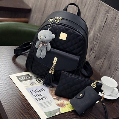 3 Pcs Bear Backpack Diamond Lattice School Bags For Girls Backpacks For Women 2018 - GTG