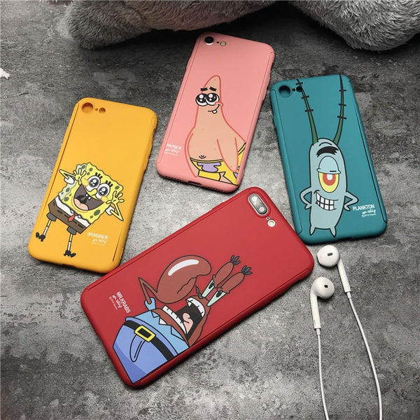 360 Degree Full Body Protective Phone Case For iPhone Plus back cover SpongeBob - GTG