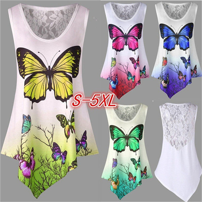 2018 New Summer Sexy Feather Butterfly Print Lace  Womens T Shirt Tops - GTG