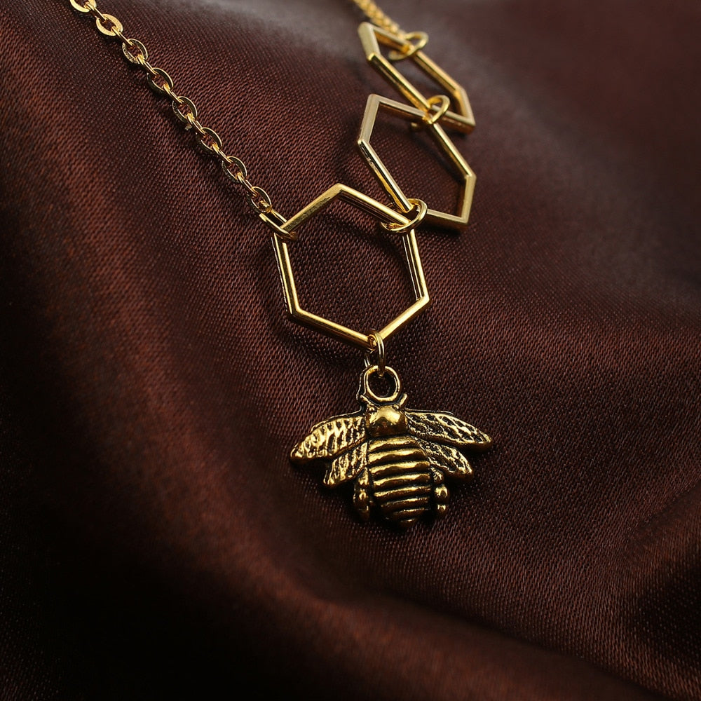 "Gold Color Honeycomb Bee Pendants Hollow For Women Nice Gift 48cm(18 7/8"") - GTG"