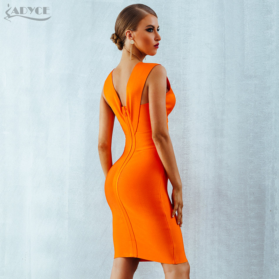 Summer Women Bandage Dress 2018 Orange Red Tank Sexy Deep V-Neck Sleveless Dress - GTG