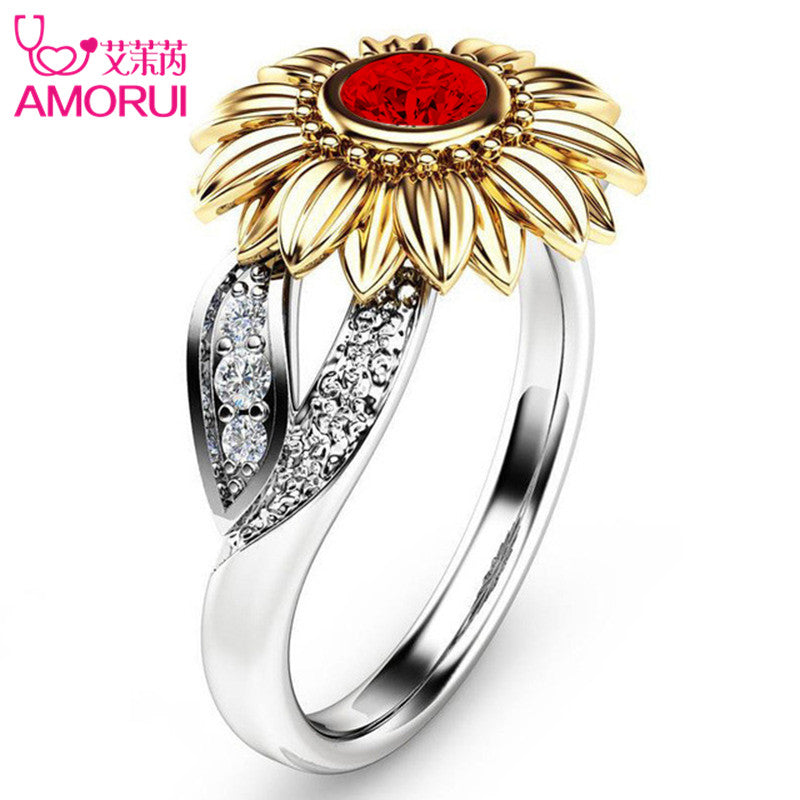 Stone Ring Jewelry Silver Color Cute Gold Sunflower Crystal Rings - GTG