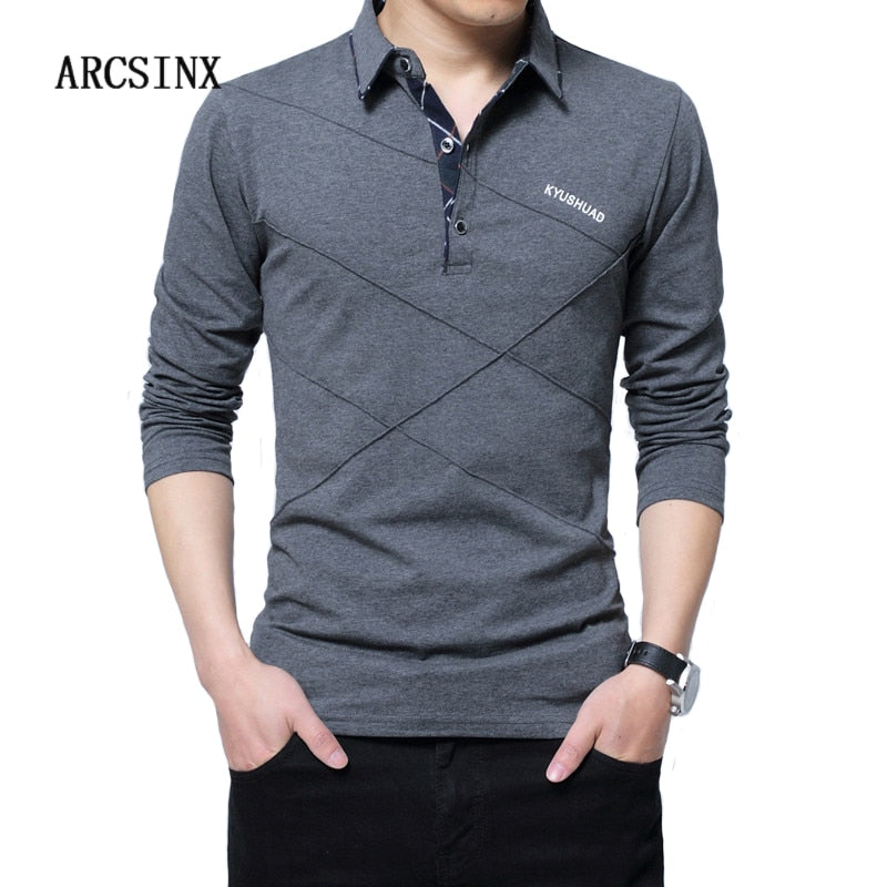 ARCSINX 5XL Polo Shirt Men Plus Size 3XL 4XL Autumn Winter Brand Men's Polo Shirt Long Sleeve Casual Male Shirt Mens polo Shirts - GTG