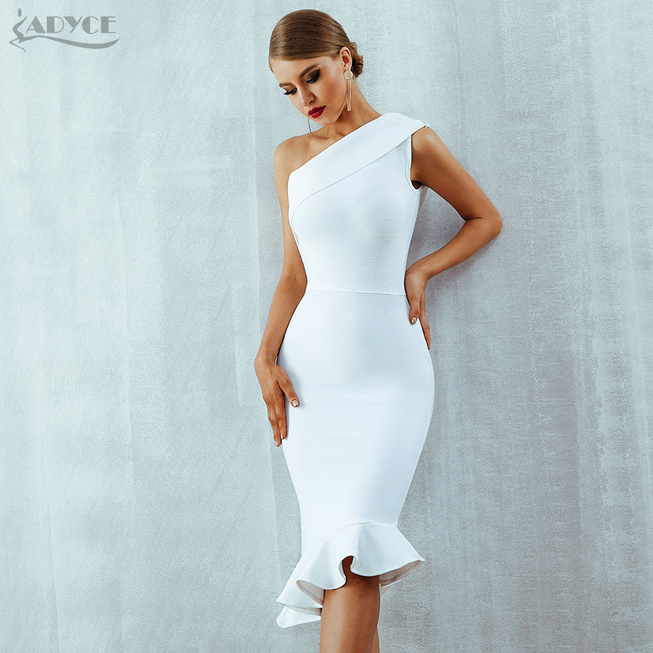 2018 New Summer Women Bandage Dress One Shoulder Sleeveless Ruffles Dress - GTG