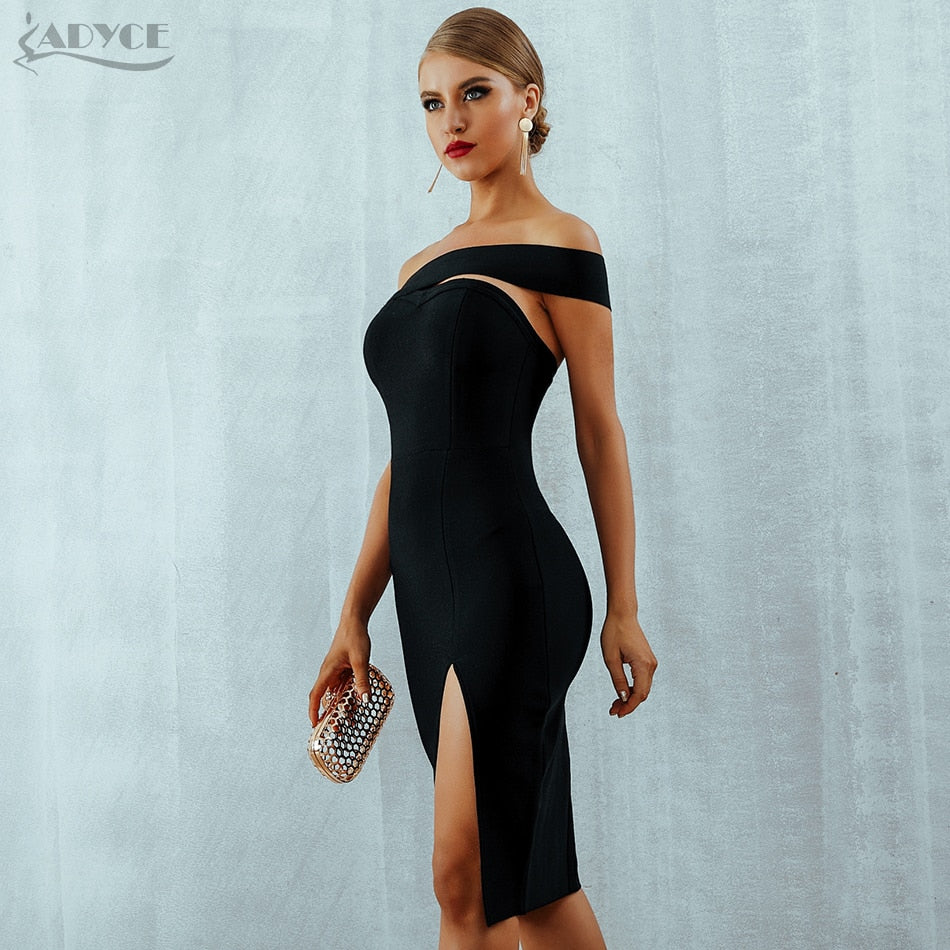 2018 Summer Women Sexy Elegant White Black One Shoulder Midi Celebrity Party Dresses - GTG