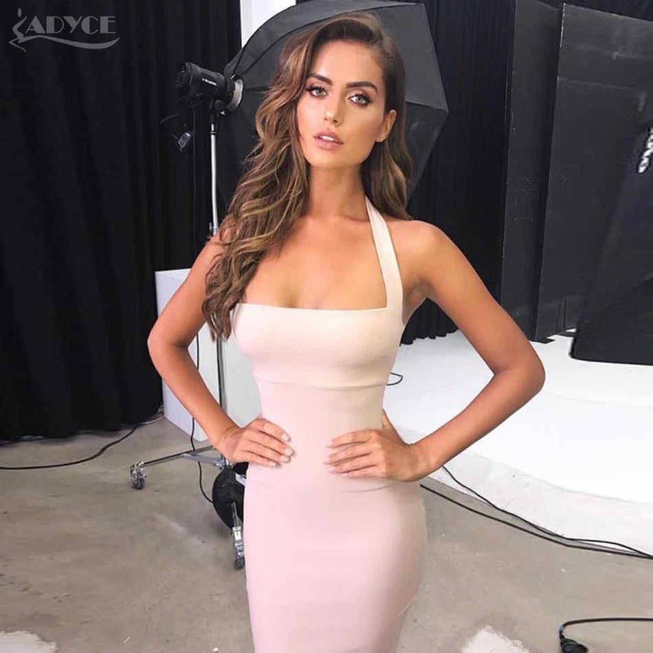 Summer Bandage Dress Women 2018 New Sexy Bodycon Elegant Halter Midi Dress - GTG