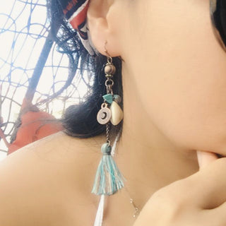 Antique Vintage Bohemian Ethnic Tassel Fringe Leaf Stones Earrings For Women Charm - GTG