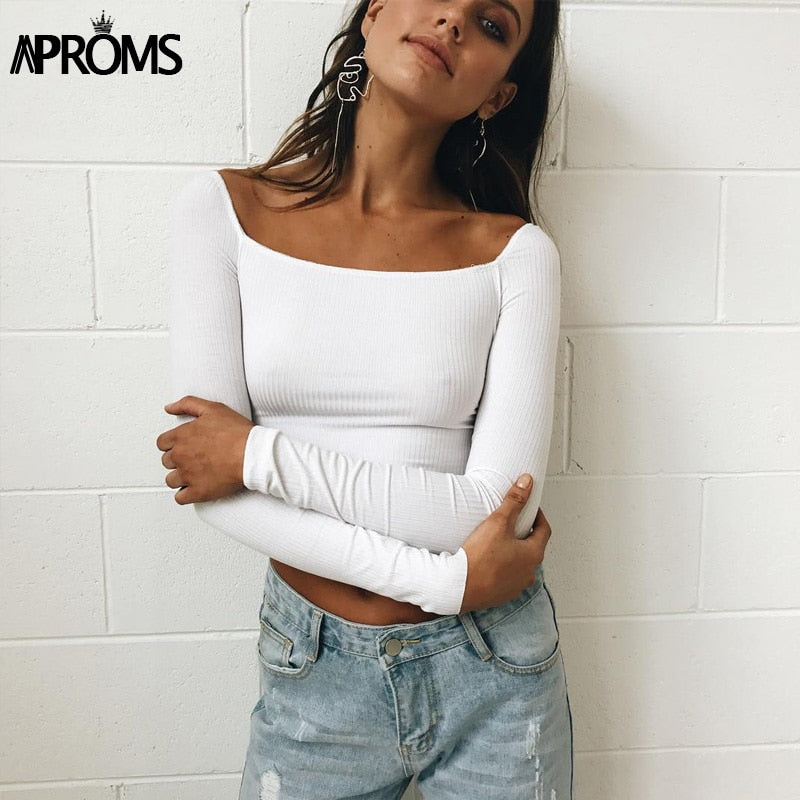 Aproms Black Square Neck Knitted Elastic Crop Top Womens Low Back Slim Basic Tank Top 2018 Streetwear Cropped Tops White Tees - GTG
