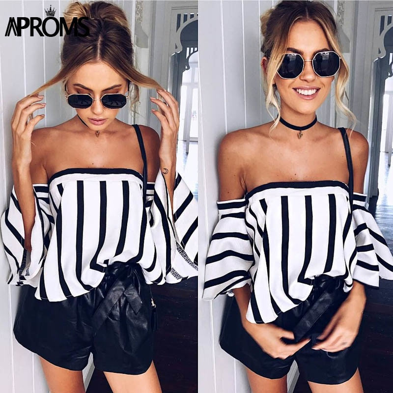 2018 Elegant Flare Stripe Blouse Shirt Women's Fashion Off Shoulder Tube Top - GTG