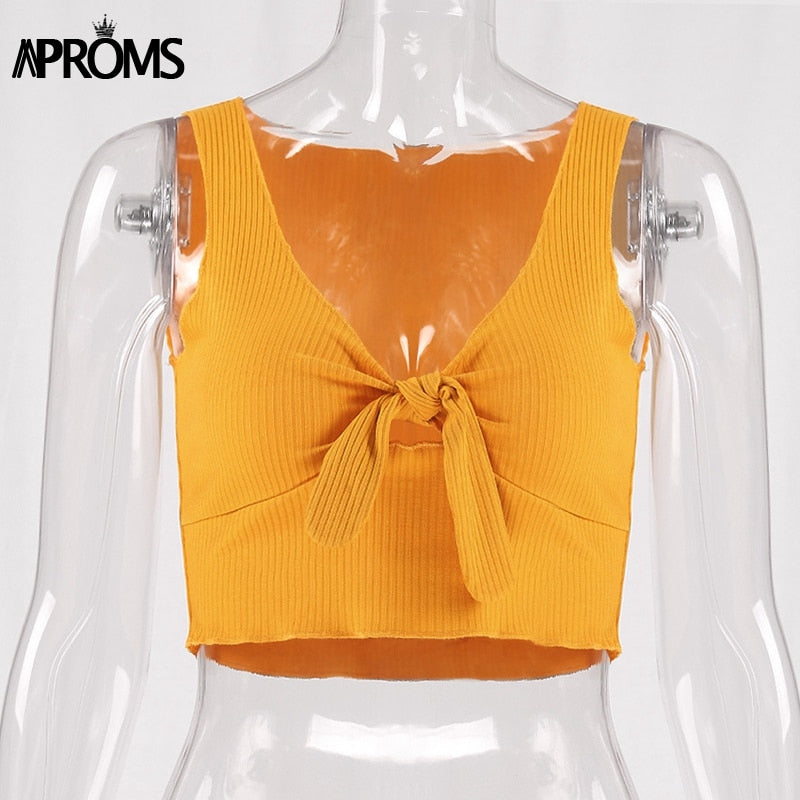 Aproms Ribbed Bow Tie Camisole Tank Tops Women Summer Basic Crop Top Streetwear Fashion 2018 Cool Girls Cropped Tees Camis - GTG