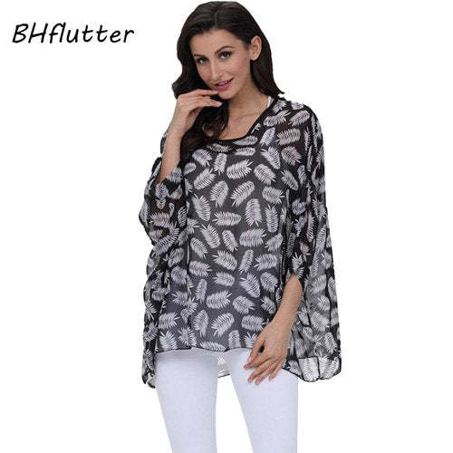 Women Clothing 2018 New Chiffon Blouse Batwing Shirt Sleeve Letters Print Summer Tops - GTG