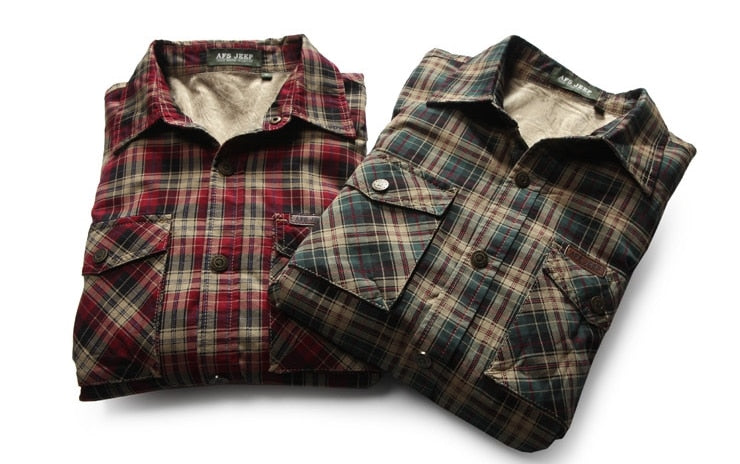 Brand Clothing Mens Winter Warm Fleece Liner Thicken Shirt Plaid Print Red and Blue Color Shirts 103 - GTG