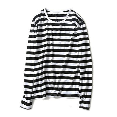 2018 Autumn striped print long-sleeved t-shirt men's bottoming shirt slim round neck - GTG