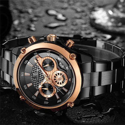 CADISEN Luxury Brand Full Steel Waterproof Sport Military Quartz  Mens Watch - GTG