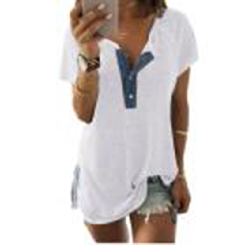 CHAMSGEND Fashion Women Short Sleeve Loose Casual Button Tank top women White buttoned cotton Polo Drop Shipping 4A17 - GTG