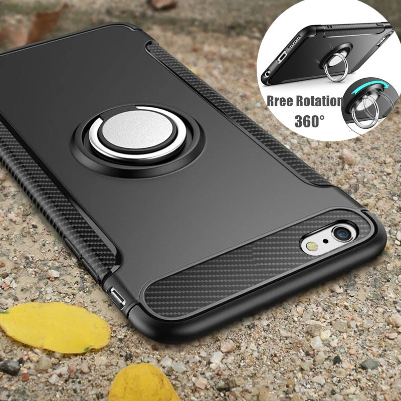 Case for iPhone 7 8 X 6 S 6S Plus Car Holder Magnetic Suction Ring Bracket Shockproof - GTG