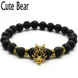 Cute Bear Brand Antique Silver Animal Wolf Head Bracelet Men Jewelry Frosted Lava Beads - GTG
