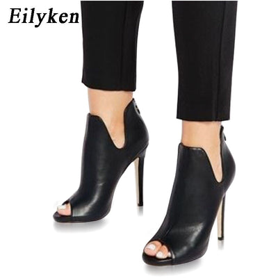 Eilyken Spring/Autumn Gladiator V Mouth Women Pumps Zipper Fashion Black Sexy  Peep Toe Cover Heel Pumps 12CM Size 35-40 - GTG