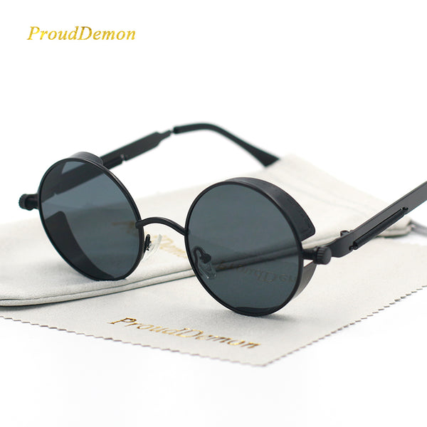 Gothic Steampunk Round Metal Sunglasses for Men Women Retro Vintage UV400 - GTG