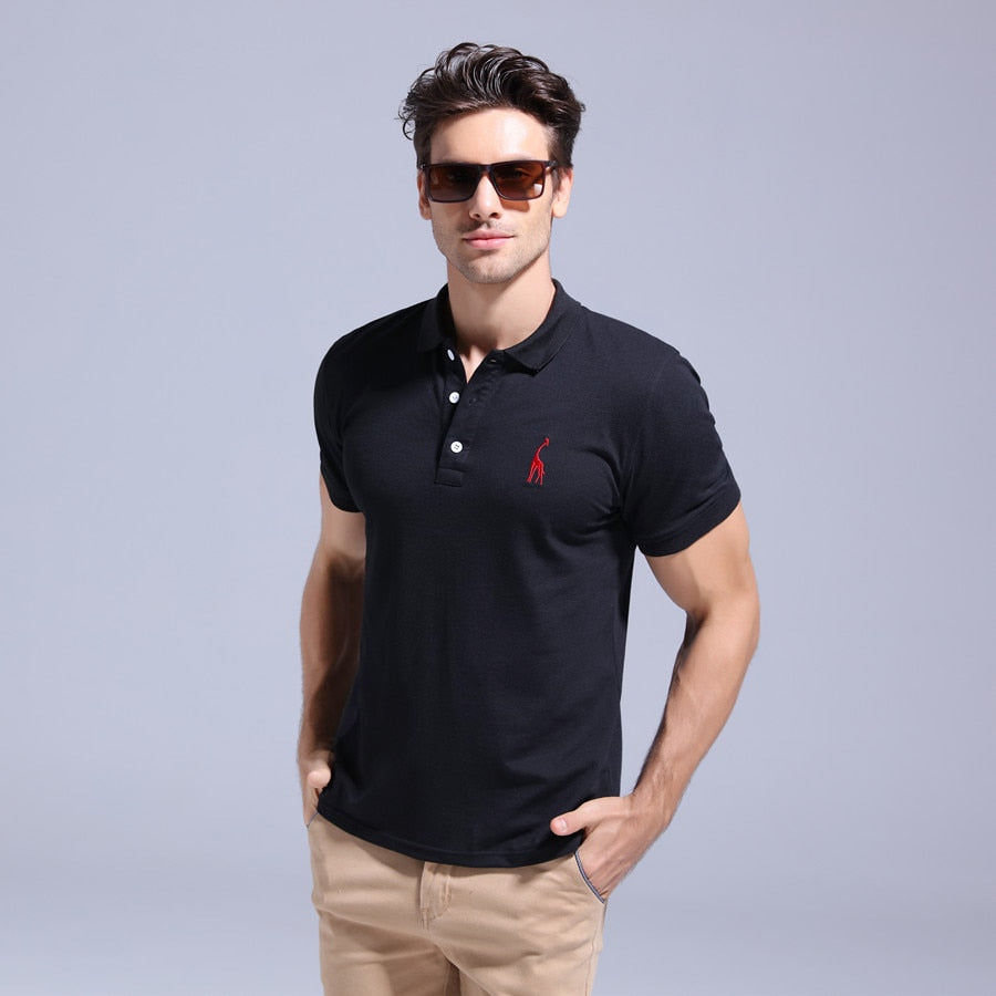 Gustomerd Brand New Man Polo Shirt Mens Casual White Deer Embroidery C
