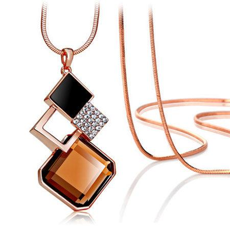 2016 Fashion Crystal Pendant Long Necklace Female Winter Sweater Chain - GTG