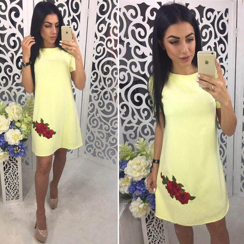 2018 Summer Fashion Rose Appliques Simple Style Straight Dress - GTG