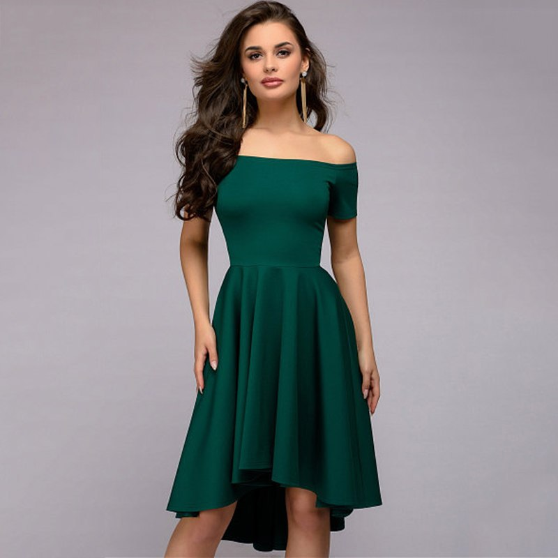 2018 Sexy Off the Shoulder Asymmetrical Hem Summer Women Elegant Short Sleeve Dress - GTG