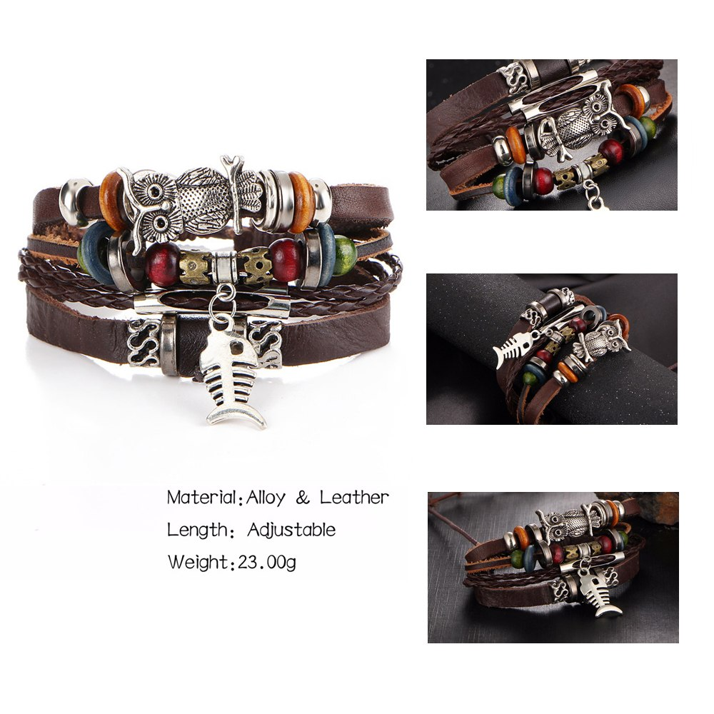 17KM Punk Design Turkish Eye Bracelets Unisex New Fashion Owl Leather Bracelet - GTG