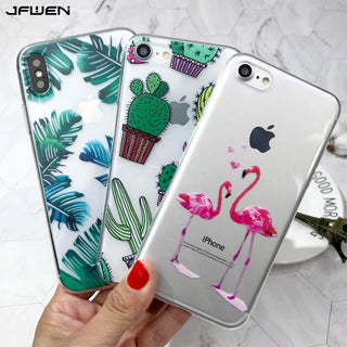 Coque iphone X 8 7 6 Plus Case Silicone Soft TPU Cactus Flamingo Phone Cases - GTG