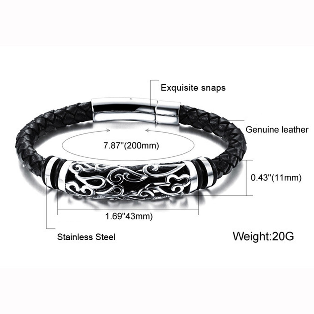 Jiayiqi 18.5/20/22cm Flower Hollow Stainless Steel Woven Black Braid Cuff Genuine Leather Bracelets & Bangles For Men Jewelry - GTG