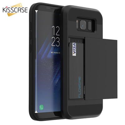 Card Slot For Samsung S7 S6 S8 Plus Cases Armor Slide Card Holder - GTG