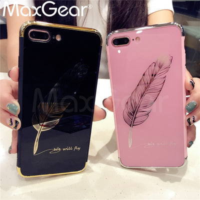 Feather Patterned Cartoon Case For iPhone Mirror Phone Cover For iPhone - GTG