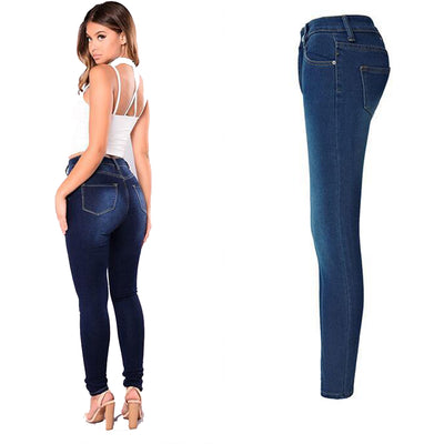 2018 Fashion Plus Size Solid High Waist Full Length Women Stretch Skinny Pencil Jeans - GTG