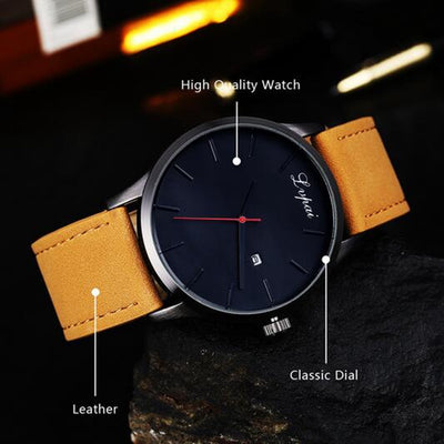 2018 Fashion Large Dial High Quality Military Quartz Men Leather Sport watch - GTG