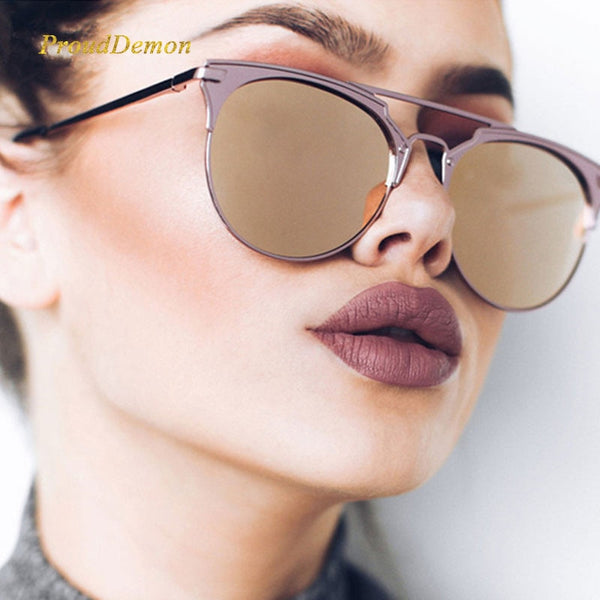 Mirror Rose Gold cat eye Luxury Brand Female Sun Glasses Women 2018 Fashion - GTG