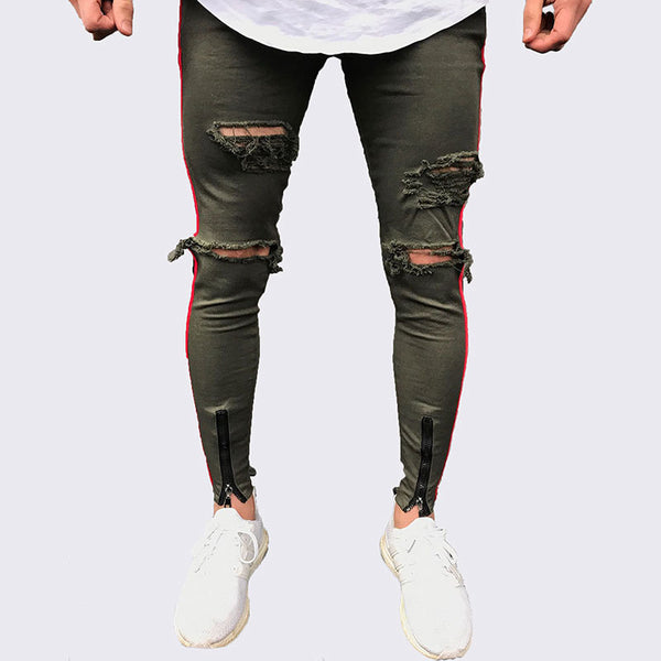 2018 New Arrived Men side red stripe jeans denim ripped holes slim supper skinny jeans - GTG