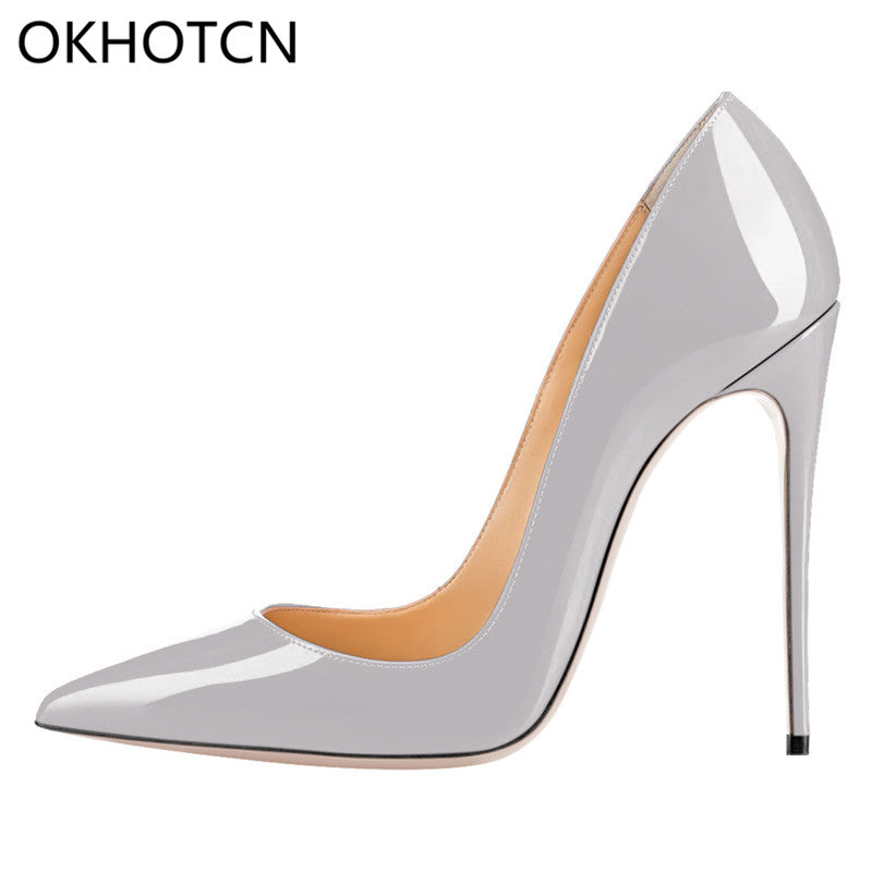 OKHOTCN Sexy Rivets Shiny Patent Leather High Heels Nude Pointed toe Pumps  Shoes Party Shoes b50afea44ff5
