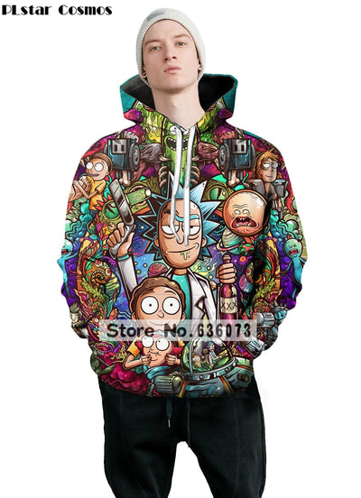 2018 New Fashion 3D Hoodies cartoon rick and morty 3D Print Men Womens Pullovers - GTG