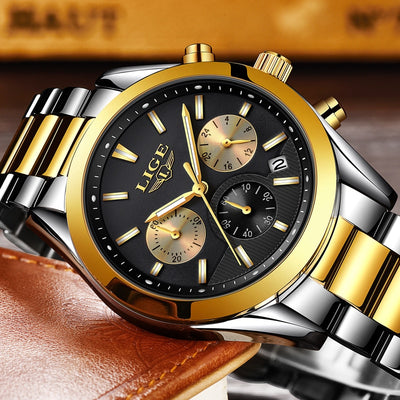 2018 New LIGE Mens Watches Top Brand Luxury Full Steel Business Quartz Watch - GTG
