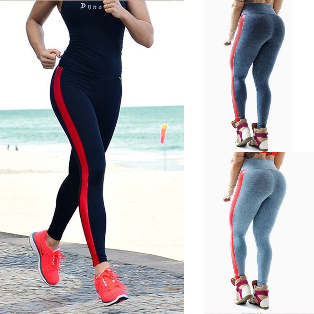 Women's Sportswear Running Pants  Stripe Patchwork Gym Yoga Pants High Waist Legging - GTG