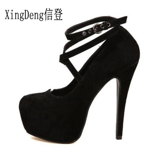 XingDeng Ladies High Heels Pumps Flock Women Cross Strap Buckle Strap Women Platform Wedding Bridals Stiletto Size 34-42 - GTG